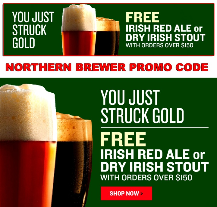 Use this Northern Brewer promo code for a free Irish Ale or Irish Stout Beer kit from NorthernBrewer.com