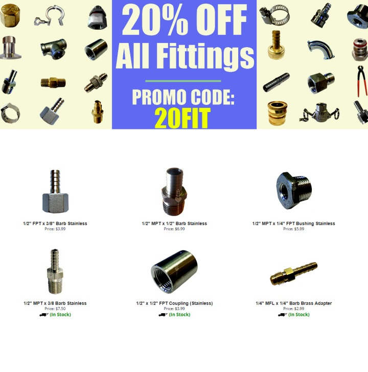 Love2Brew.com Save 20% On Home Brewing Fittings Promo Codes