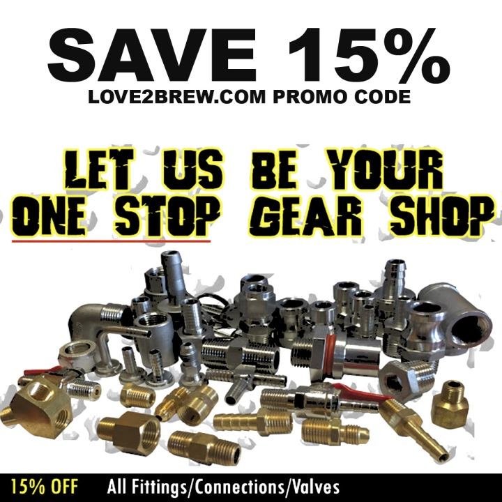 Love2Brew.com Promo Code for 15% off fittings and valves!