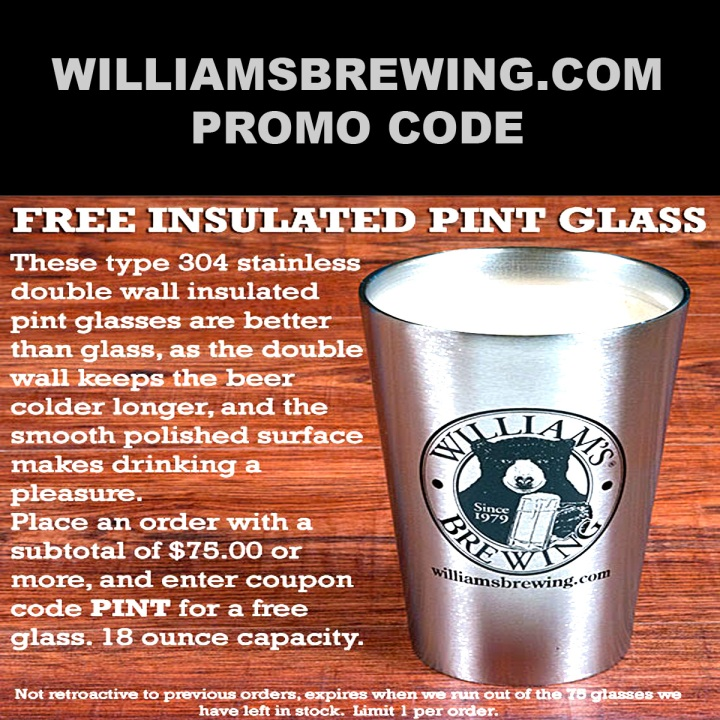 WilliamsBrewing.com Promo Code Pint