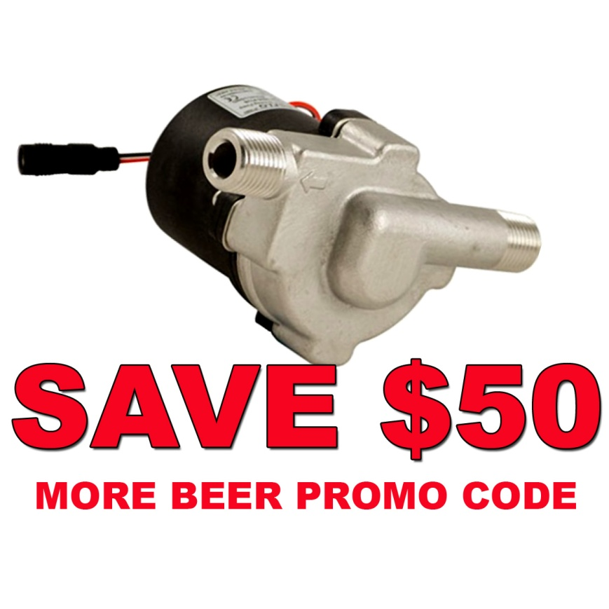 MoreBeer.com Promo Code for $50 Off A Compact Stainless Steel Home Brewing Pump