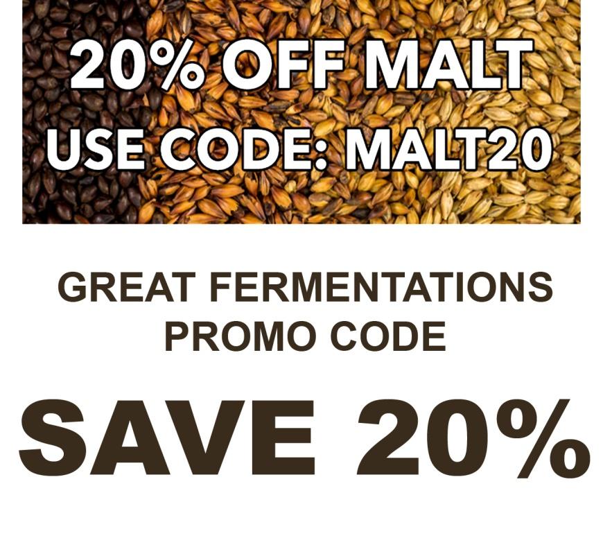 GreatFermentations.com 20% Off Malt Promo Code