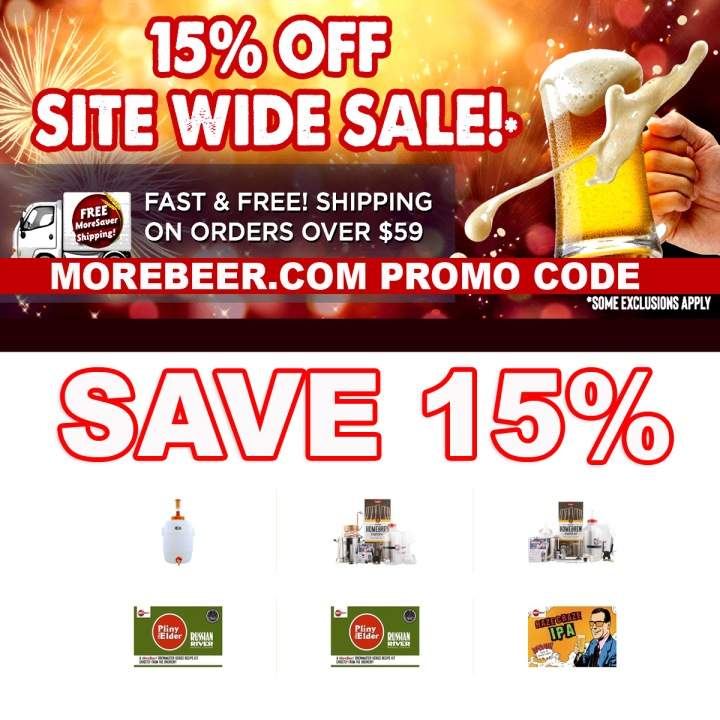 MoreBeer.com Home Brewing Promo Code for 15% Off Site Wide