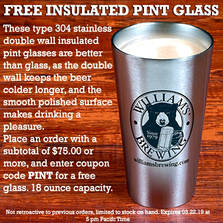WilliamsBrewing.com Promo Code For A Free Stainless Steel Pint Glass