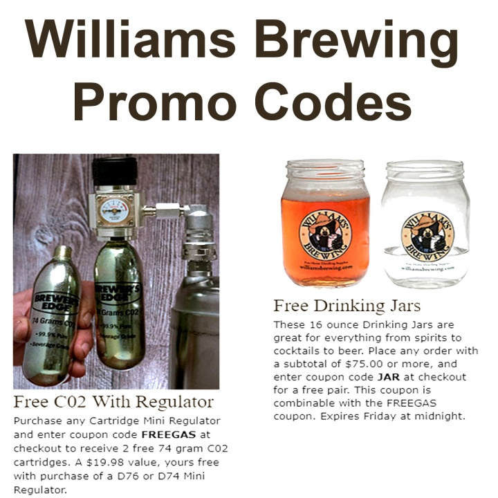 Williams Brewing Promo Codes for Free CO2 and Free Drinking Glasses