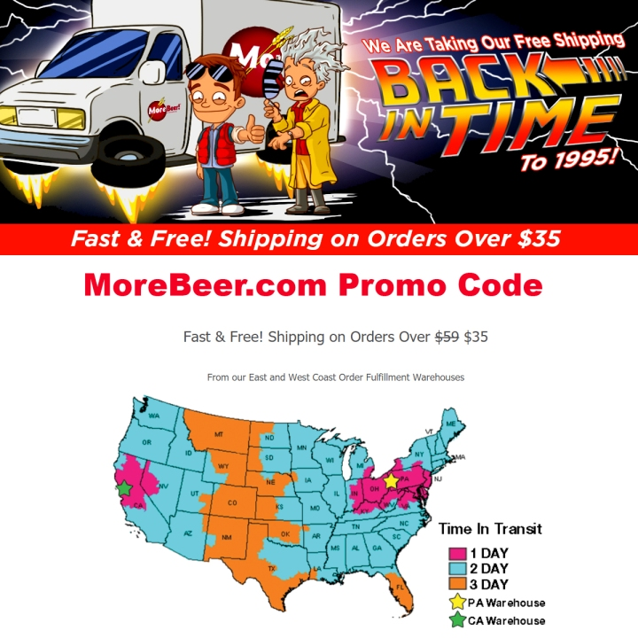 Get Free Shipping on orders of $35+ at More Beer - MoreBeer.com Promo Code