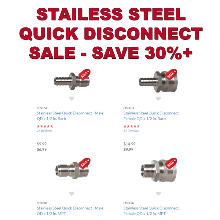 Save 30% On Stainless Quick Disconnects