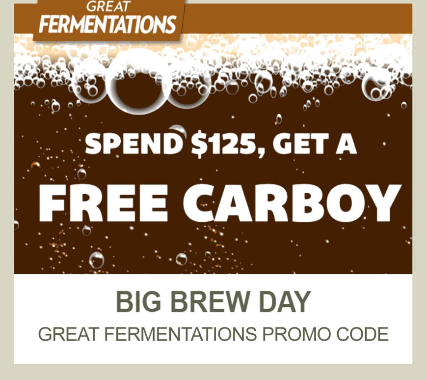 GreatFermentations.com Promo Code for a FREE Carboy