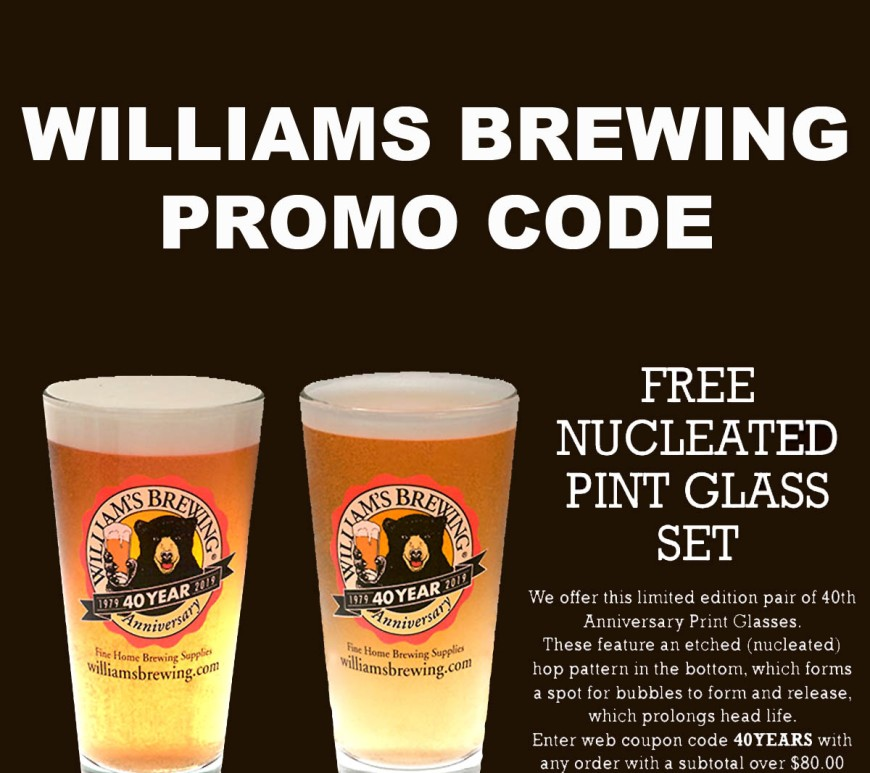 Williams Brewing Promo Code for Free Pint Glasses