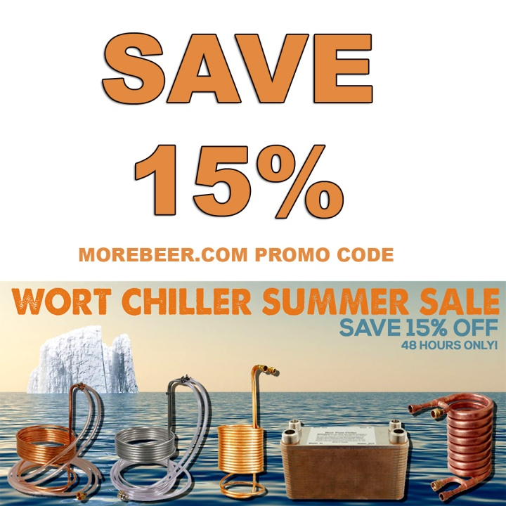 MoreBeer Promo Code for 15% Off Homebrewing Wort Chillers