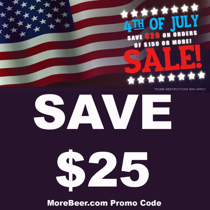 Save $25 Off Your $150 Purchase With This MoreBeer.com 4th of July Promo Code