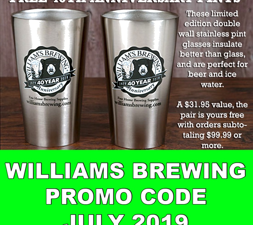 WilliamsBrewing.com Promo Code For July 2019