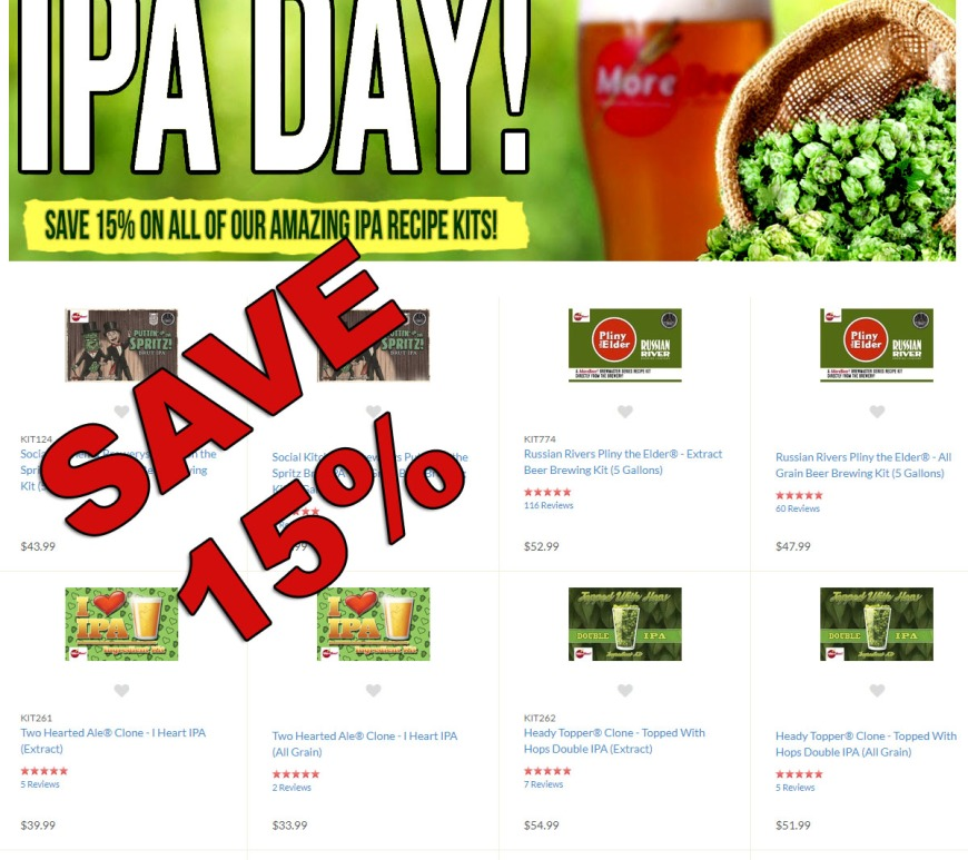 Save 15% On IPA Home Brewing Kits at MoreBeer.com With This August 2019 MoreBeer.com Promo Code