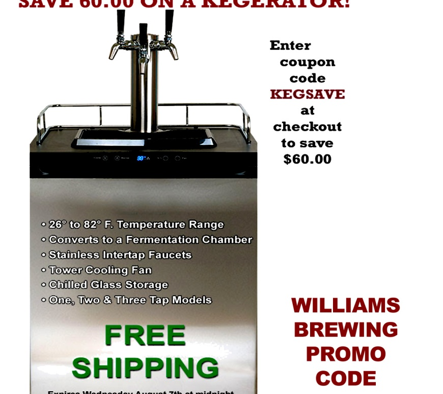 Williams Brewing Coupons for August 2019