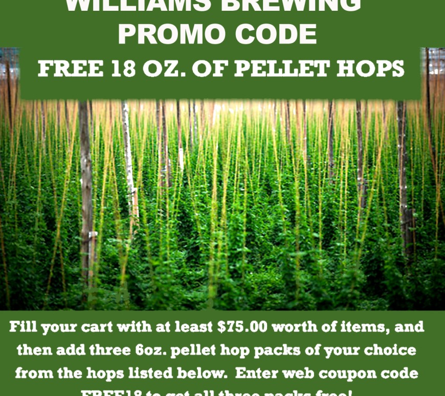 Williams Brewing Promo Code for Free Hops!
