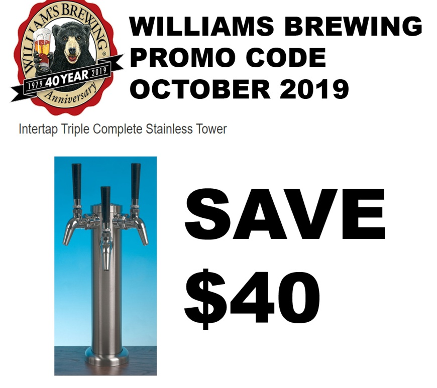 Williams Brewing Promo Code for $40 Off A 3 Tap Tower - October WilliamsBrewing.com Promo Code