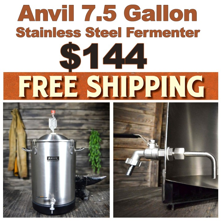7.5 Gallon Stainless Steel Fermenter for $144