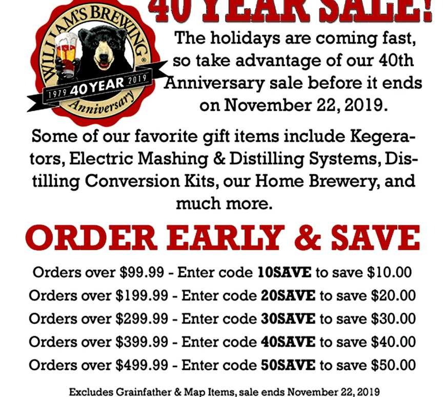 WilliamsBrewing.com Promo Code for $50 this November 2019